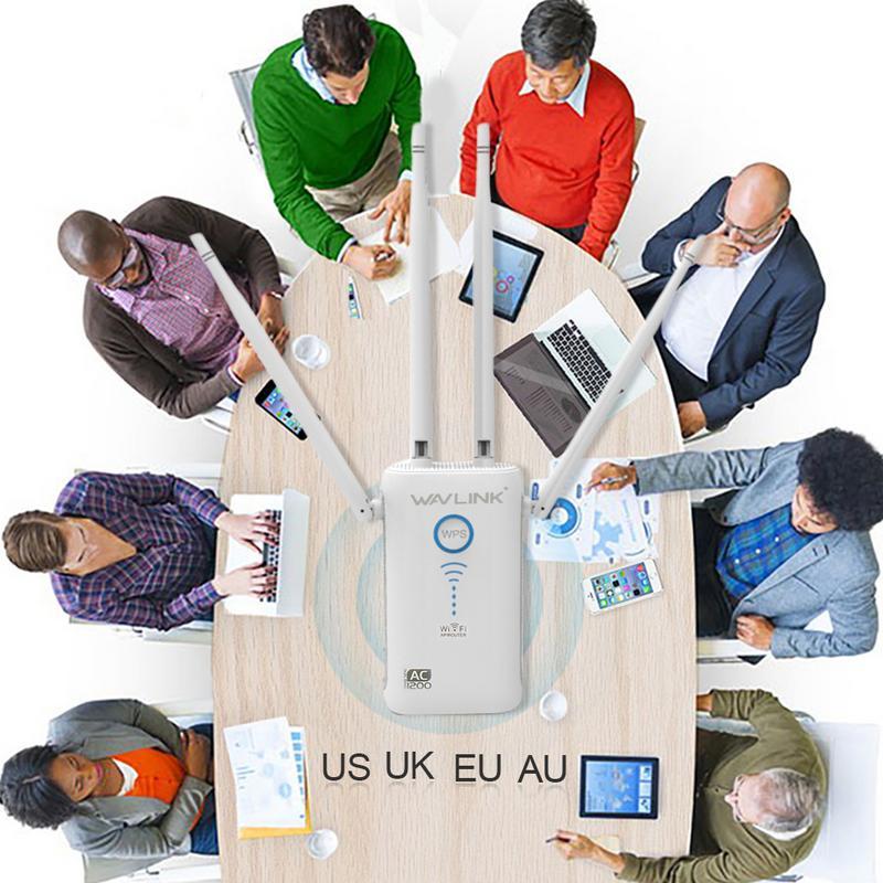 11ac Gigabit AP/routeur WiFi gamme Extender 1200 Mbps Wifi Booster Signal extendeurs 4 antennes externes double bande externe - 5
