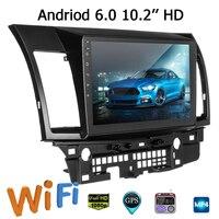 10,2 дюймов два ряда для Android 6,0 автомобилей медиа плеер автомобиля gps MP5 MP3 стерео навигации радио для mitsubishi для Lancer