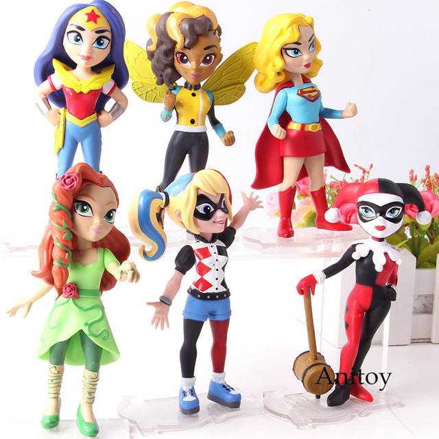 6 pçs/set DC Comics Supergirl Poison Ivy Harley Quinn Mulher Maravilha Figura de Ação Modelo Coleção de Brinquedos de Super-heróis para Crianças Presentes