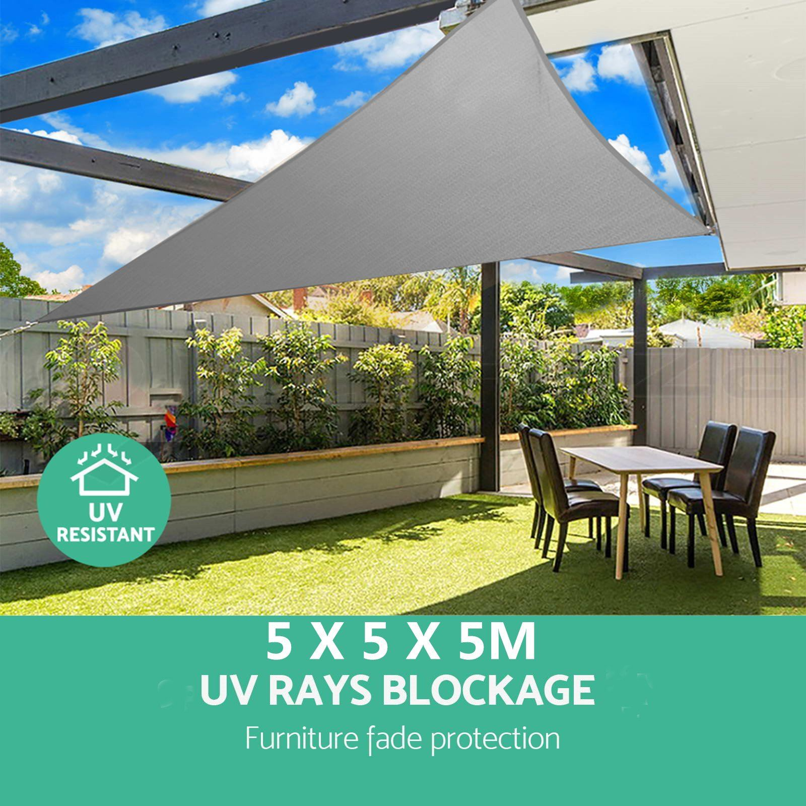 5m Triangle Shade Sail Net Cloth Outdoor Swimming Pool Waterproof Sun Shade Sail Prevent UV Canopy Home Garden Awning Cover Cap