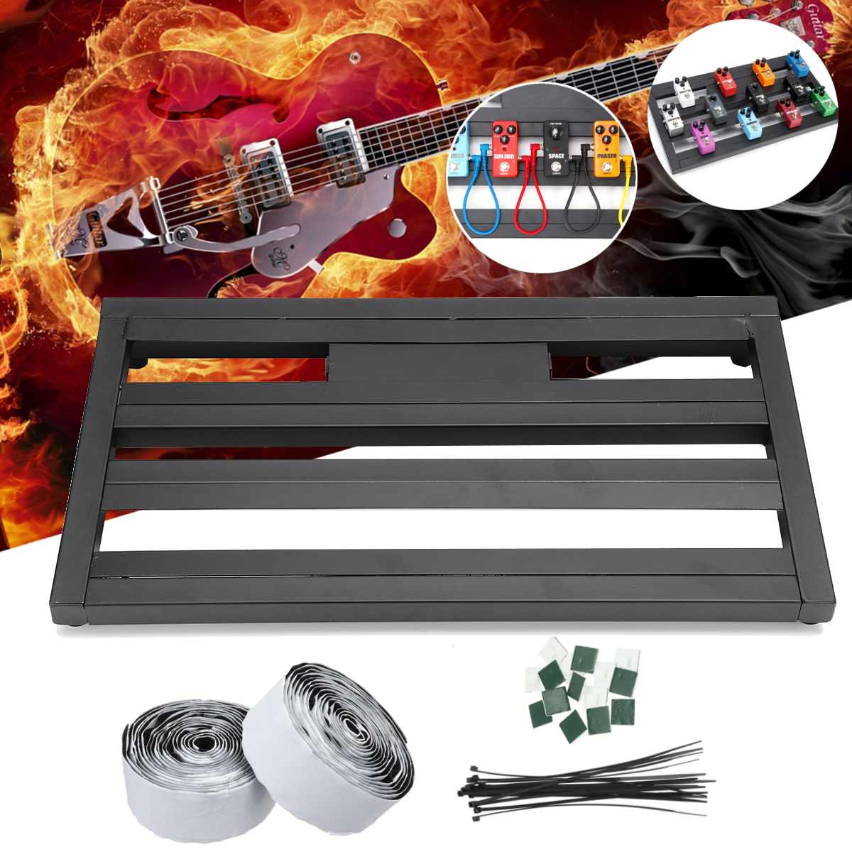 Guitar Effects Pedal Board Portable Aluminium Alloy+Ties+Tape+Explant SetGuitar Effects Pedal Board Portable Aluminium Alloy+Ties+Tape+Explant Set