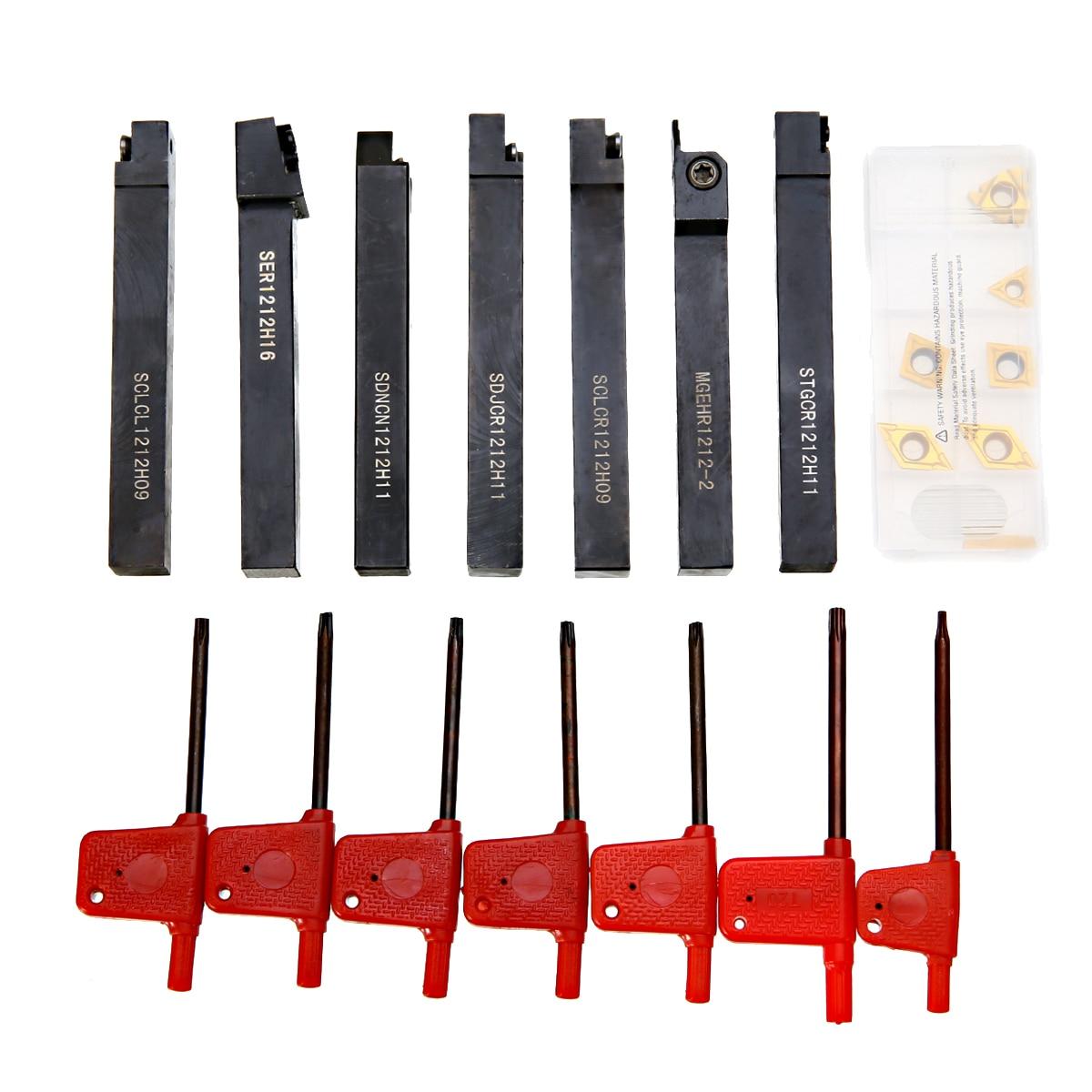 7pcs 100mm Length CNC Lathe Turning Tool Holder + 7pcs DCMT TCMT CCMT Inserts with 7pcs Wrenches7pcs 100mm Length CNC Lathe Turning Tool Holder + 7pcs DCMT TCMT CCMT Inserts with 7pcs Wrenches
