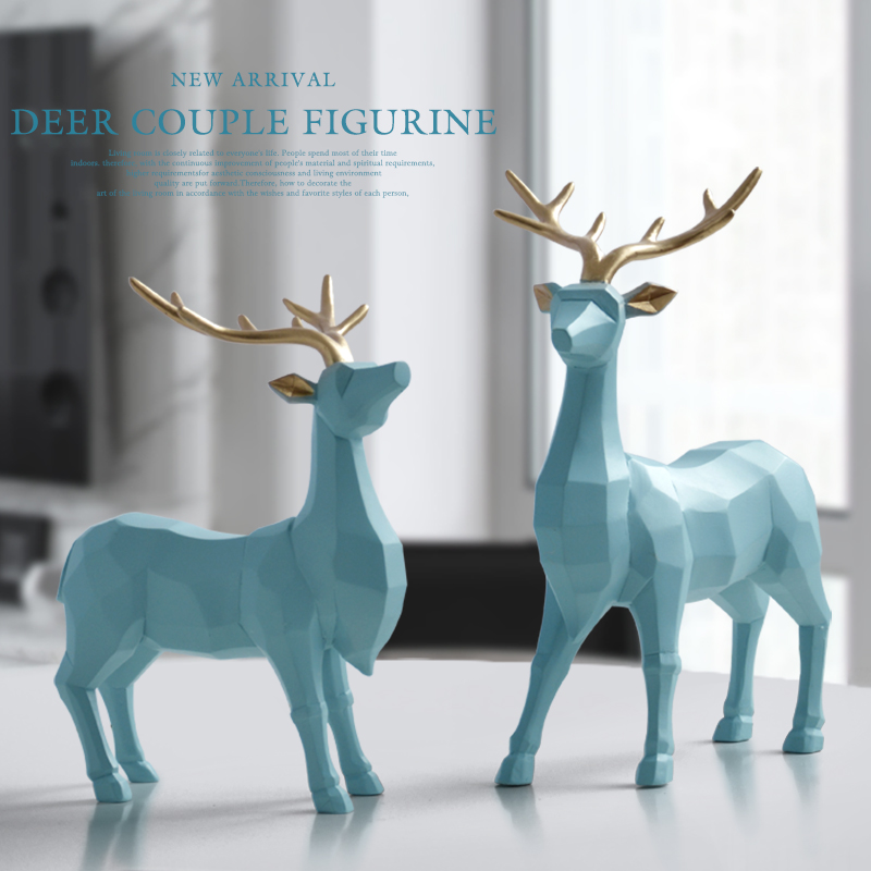 Polyresin Figurine Decoration Animal Statue Living Room Ornaments Sculpture Creative Resin Deer Craft Gift For Home