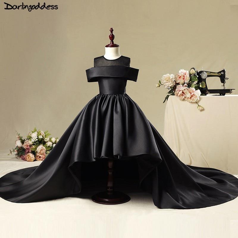 Luxury Flower Girl Dress For Weddings Ball Gown Black Red Satin Vestidos De Comunion Pageant Dress First Communion Dresses 2019