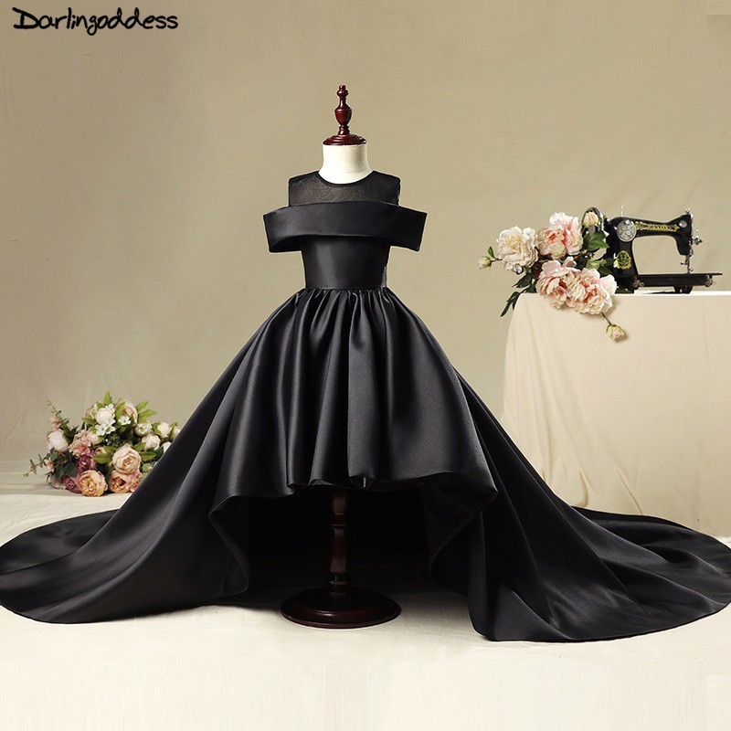 Luxury Flower Girl Dress For Weddings Ball Gown Black Red Satin Vestidos De Comunion Pageant Dress First Communion Dresses 2019