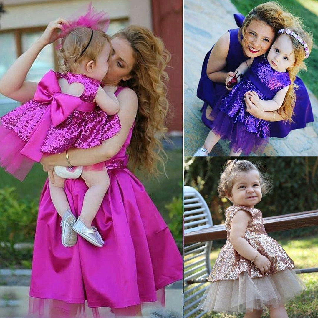 Pudcoco Girl Dress 6M-4Y AU Kids Baby Girls Sequins Lace Dress Bowknot Party Wedding Bridesmaid Dresses