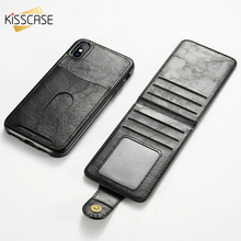 KISSCASE Luxury Card Slot Leather Case For iPhone 7 8 plus Flip PU X XS MAX XR 6 Magnetic Holder Fundas