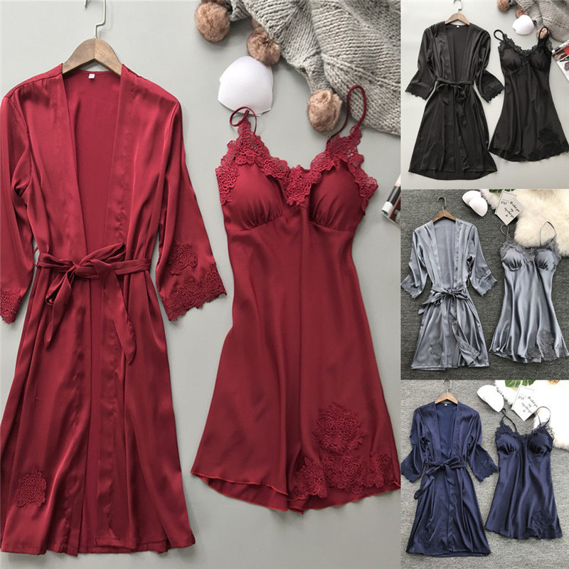 Sexy Lingerie Women Silk Satin Lace Robe Dress Nightdress Sleepwear Kimono Pyjamas Red Black Blue Gray