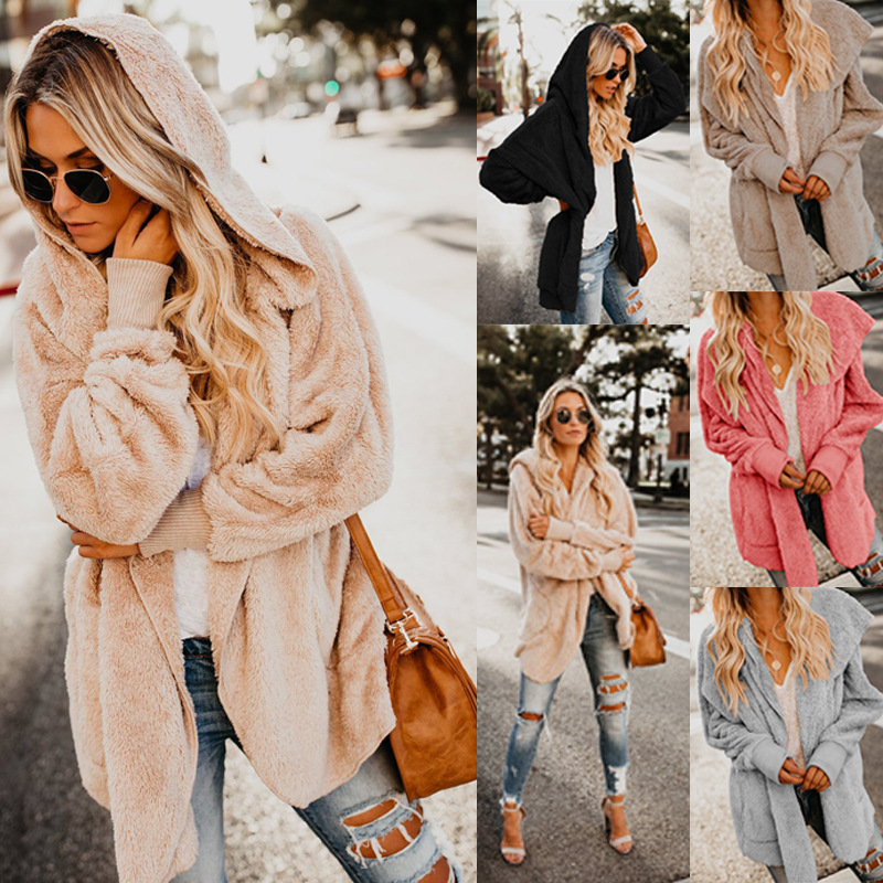 Женский кардиган с длинным рукавом, Свободное пальто с карманом, Зимняя шерстяная Меховая куртка Harajuku с капюшоном, верхняя одежда Blouson Femme Ey *