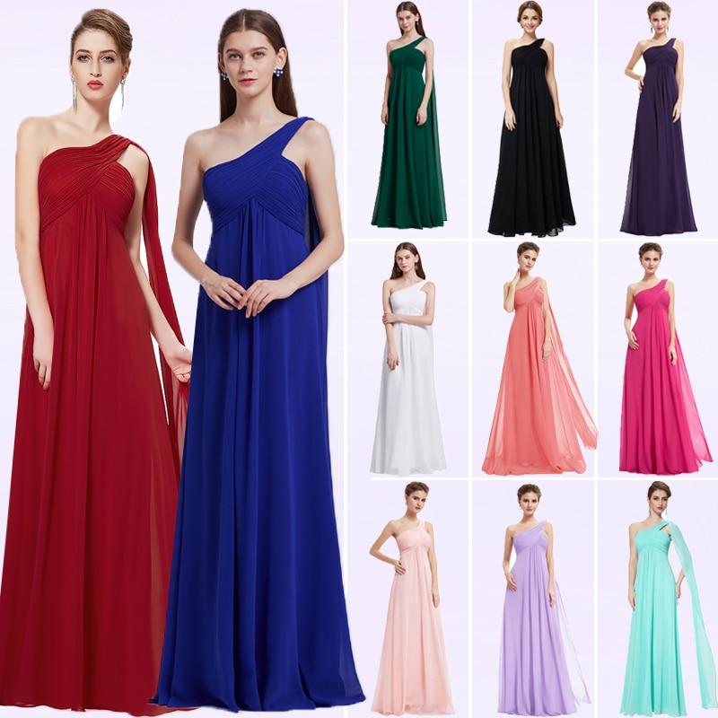 Sexy Chiffon Bridesmaid Dresses Long Ever Pretty A-Line One Shoulder Solid Elegant Wedding Party Dresses Vestido Madrinha 2020