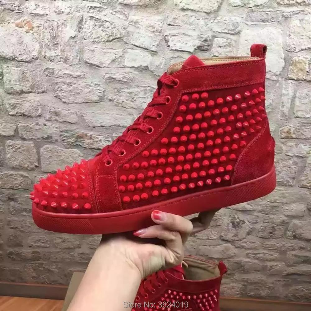 Für Spikes Rot Andgz Schuh Böden Mann Lace Up Cl Cut Leder Frühling Turnschuhe Wildleder Müßiggänger Schuhe Casual 2018 High Ygq14Px