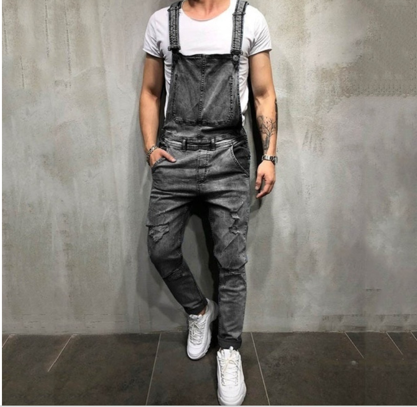 2019 New Designed Hot Man Slim Jumpsuits Fashion Men's Denim Overalls Male Personal Trousers Popular Quality Cargo