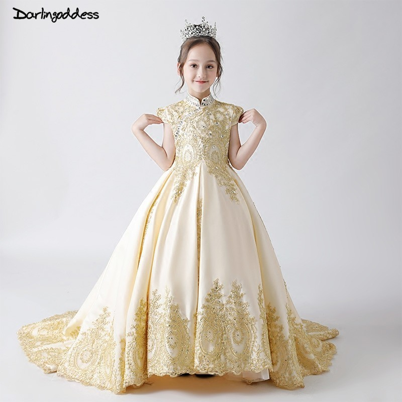 Luxury Lace   Flower     Girl     Dresses   for Weddings 2019 Champange Kids Evening   Dress   Holy Communion   Dresses   For   Girls   Pageant Gowns
