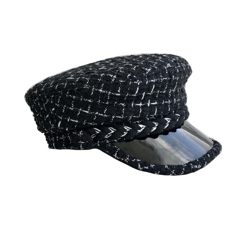 2019 New Style Women Hat Black White Stripe Tweed Military Hat Flat Top Knit Winter Cap Female Casual Beret Hat Casquette
