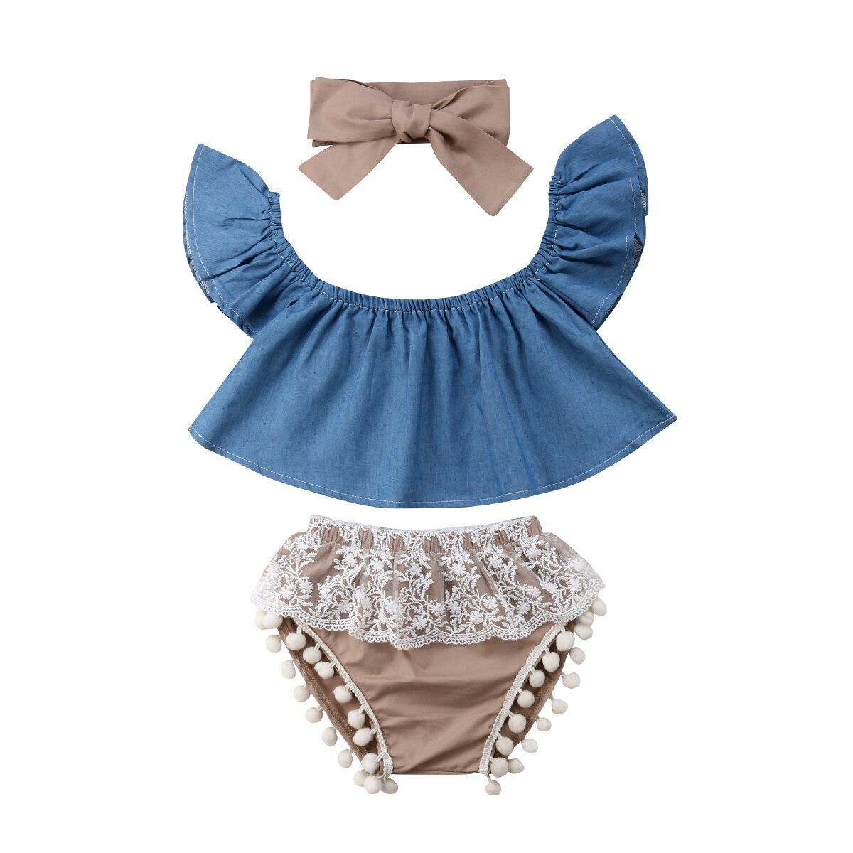 US Newborn Baby Girl Summer Off Shoulder Tops Dress+Short+Headband 3Pcs Outfits