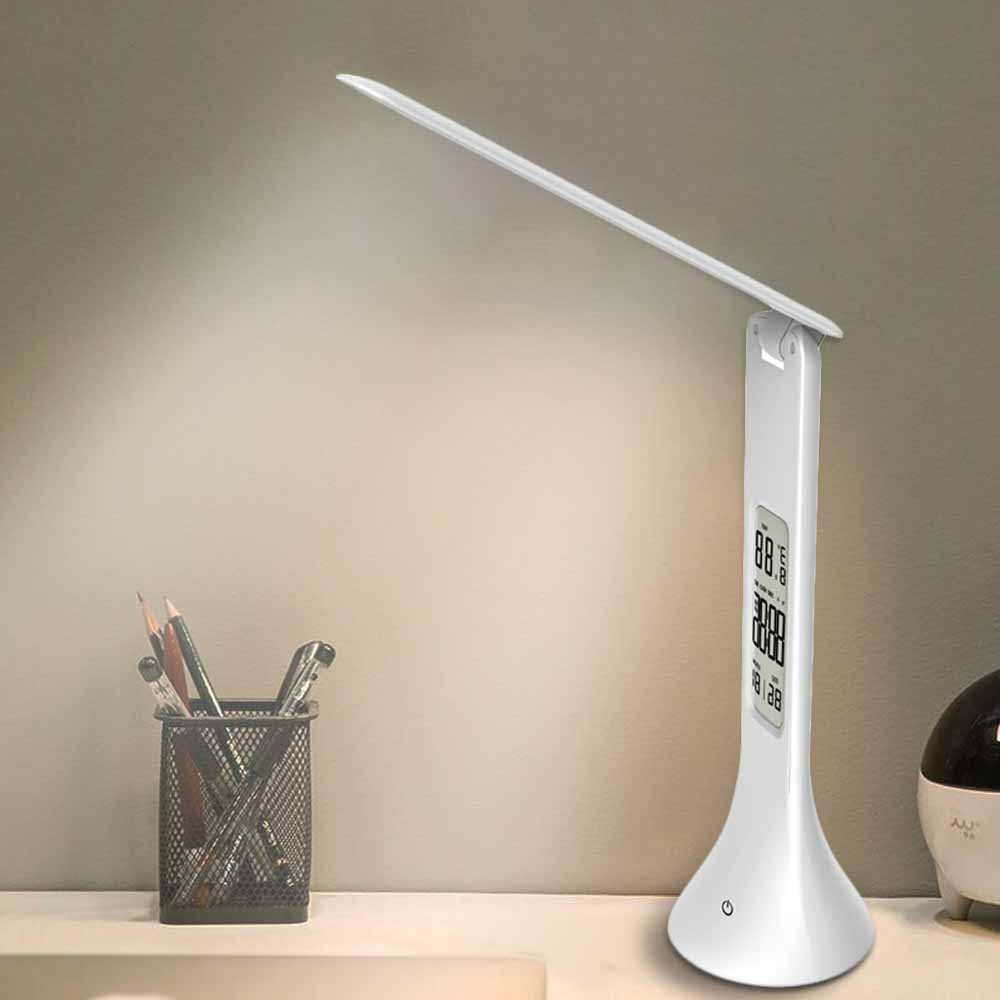 USB Chargeble LED Desk Lamp Foldable Dimmable Touch-Type Table Lamp with Calendar Temperature Alarm Clock Light night lights USB Chargeble LED Desk Lamp Foldable Dimmable Touch-Type Table Lamp with Calendar Temperature Alarm Clock Light night lights