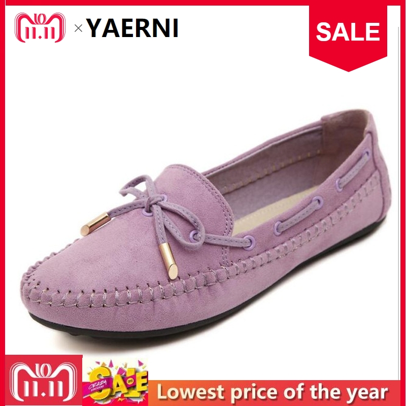 YAERNI Womens Flats Casual Bowtie Loafers Sweet Candy Colors Flats Solid Summer Shoes Woman Moccasins Female Footwear Plus Size brand new fashion casual loafers sweet pink white women flats solid summer style shoes woman 5 colors ballet flats