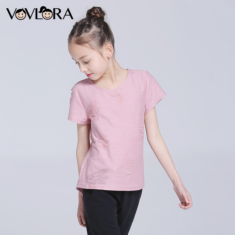Girls T shirts Tops Short Sleeve Cotton O neck Kids T shirt Tees Ripped Solid Spring 2018 New Fashion Size 10 11 12 13 14 Year brief scoop neck short sleeve solid color asymmetric design t shirt for women