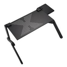 Портативный складной регулируемый ноутбук стол компьютерный стол подставка лоток для дивана кровать черный