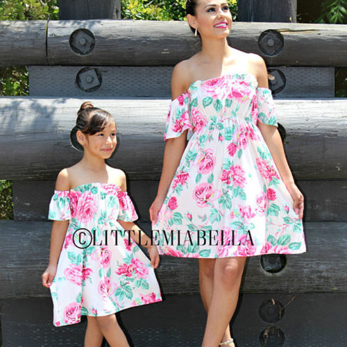 2019 fashion flower summer family matching dresses mother
