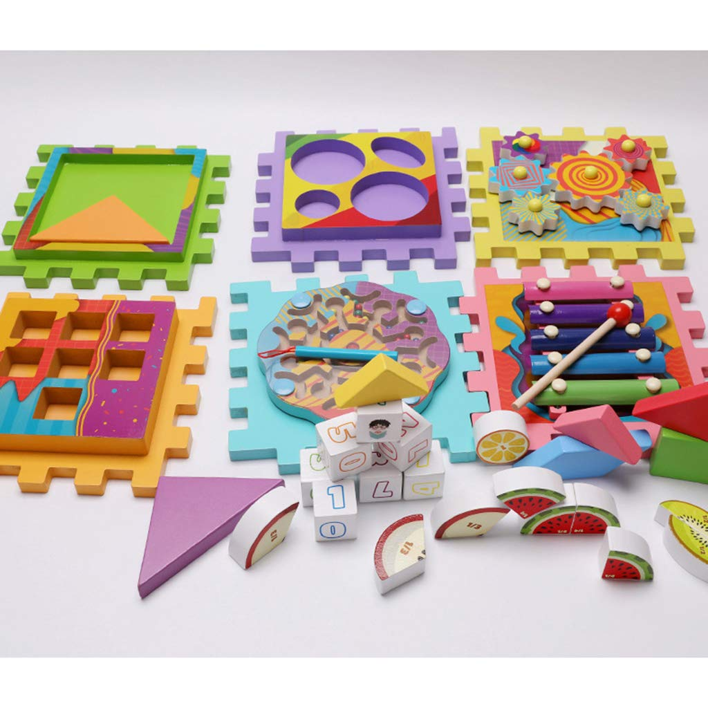6 en 1 Cube en bois labyrinthe engrenages Tangram Puzzle Xylophone mathématique Musical déconcentration jouets d'apprentissage pour les enfants - 6
