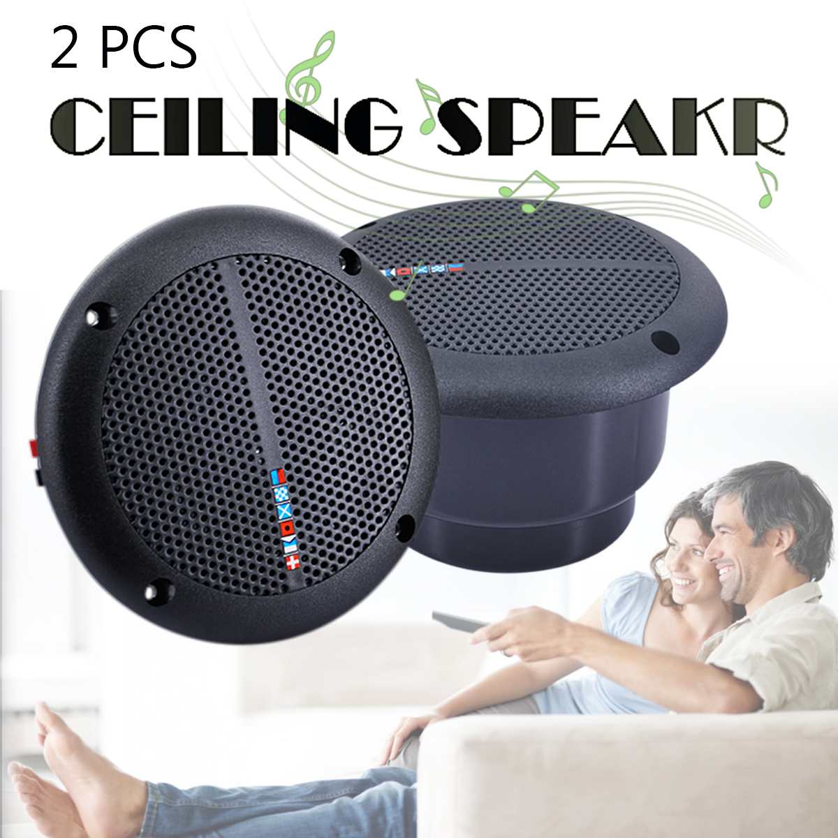 2PCS Ceiling Speaker Loudspeakers Amplifier Waterproof Marine Boat Ceiling Wall Speakers Kitchen Bathroom Water Resistant