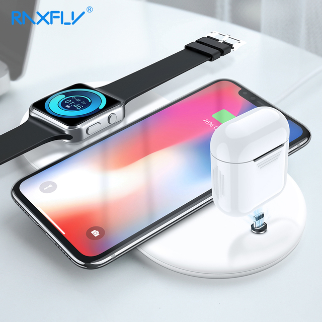 pretty nice 62b25 867a3 RAXFLY 3 in 1 QI Wireless Charger For iPhone XS Max XR X 8 For Apple  Airpods Watch Fast Phone Charger Pad For Samsung Charging