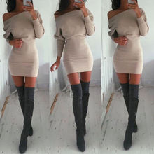 2019 New Women Off Shoulder Long Sleeve Winter Jumper Sweater Slim Bodycon Dress