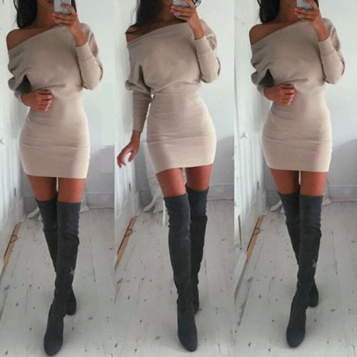 2019 New Women Off Shoulder Long Sleeve Winter Jumper Sweater Slim Bodycon Dress Lady Clothes