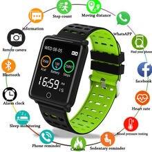 F3 спортивные часы Фитнес трекер Цвет Экран с сердечного ритма крови Давление мониторинга IP68 Водонепроницаемый Bluetooth Для мужчин умные часы Smartwatch