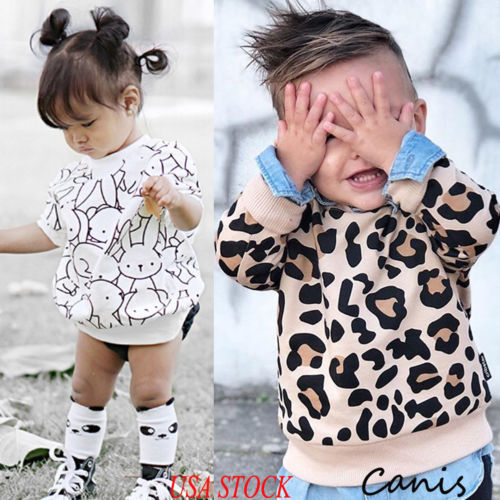0070c5d21f 2019 Spring Toddler Kid Baby Girl Boy Bunny Leopard Print Long Sleeve Tops T -shirt Sweatshirts Casual Clothes 1-7T