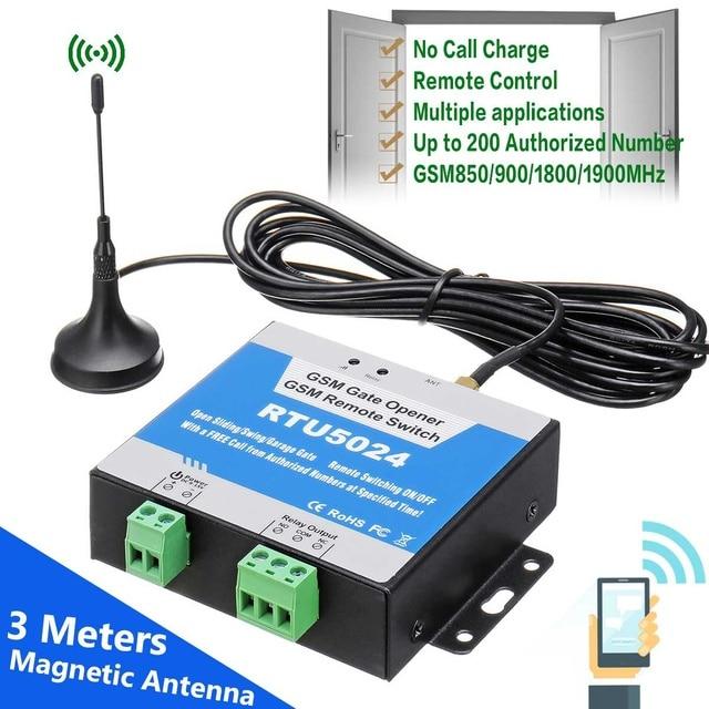 GSM Door Gate Opener Relay Switch RTU5024 Remote Access Control + 3 Meters Antenna Wireless Door Opener By Free Call Support