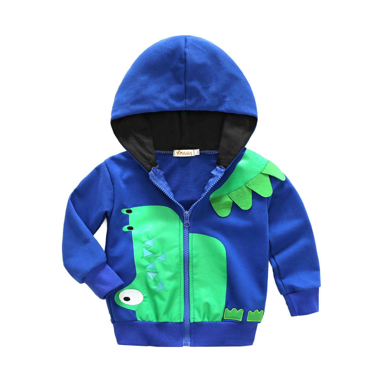 תינוק פעוט אביב תלבושת בני קריקטורה דינוזאור סלעית מעיל ילד ארוך שרוול מלא Zip מעיל הלבשה עליונה