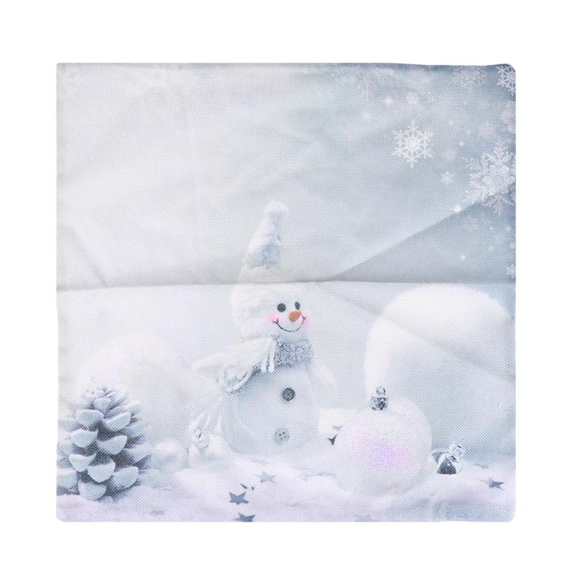 1 Pc 45X45CM Throw Pillow Cover Cotton and Linen Snowman Pillow Protector Cushion Case for Bedroom Christmas Living Room Home