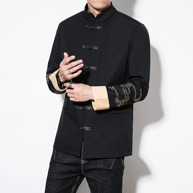 Vêtements Chinois Manteau 5xl Streetwear Grande Vintage Printemps 4337 Col Mandarin Style Taille Hommes Broderie Dragon Black Mâle Vestes aCnBtq