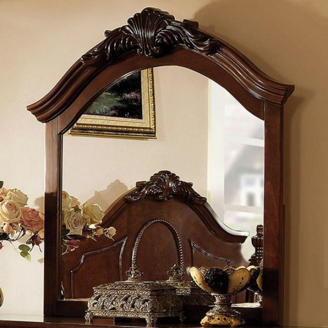 Velda II Baroque Style Mirror In Brown Cherry Finish