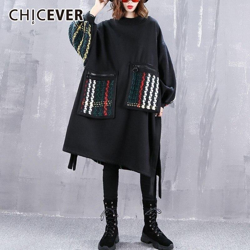 CHICEVER Sweat Pour Femmes Zipper Chauve-Souris À Manches Longues Patchwork Tricot Pull Femme Mode Coréenne Style Automne 2018