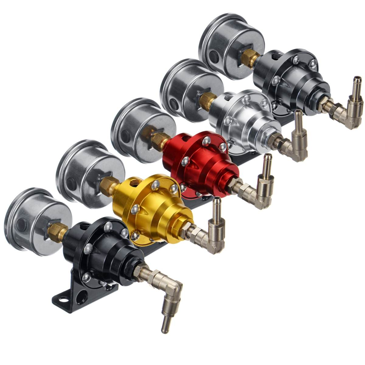 Schwarz Titan Rot Gold Silber Blau Universal Einstellbare Aluminium Kraftstoff Druckregler Mit Manometer Kit 6 farbe