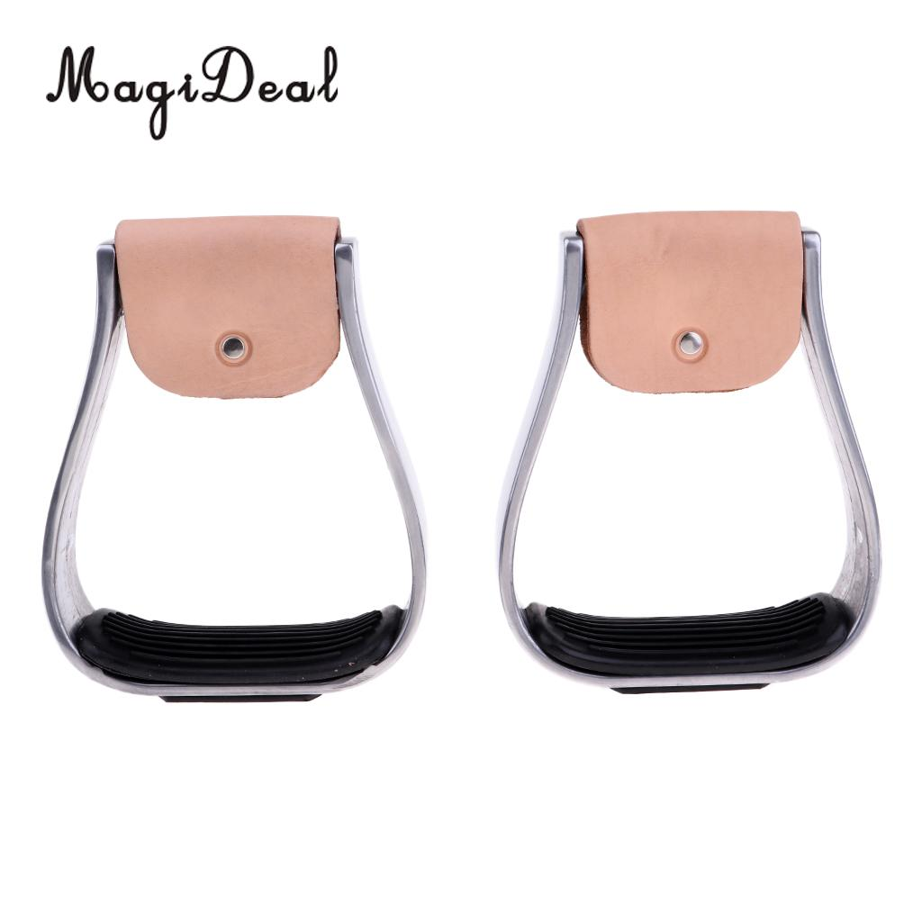 MagiDeal 2 Pcs Adult Aluminum Stirrups Equestrian Horse Riding Gear Anti Skid Treads Black