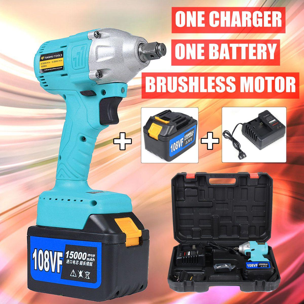 108 v Clé À Chocs Sans Fil 1/2 Rechargeable 15000 mah Batterie Au Lithium 320Nm Brushless Électrique Clé