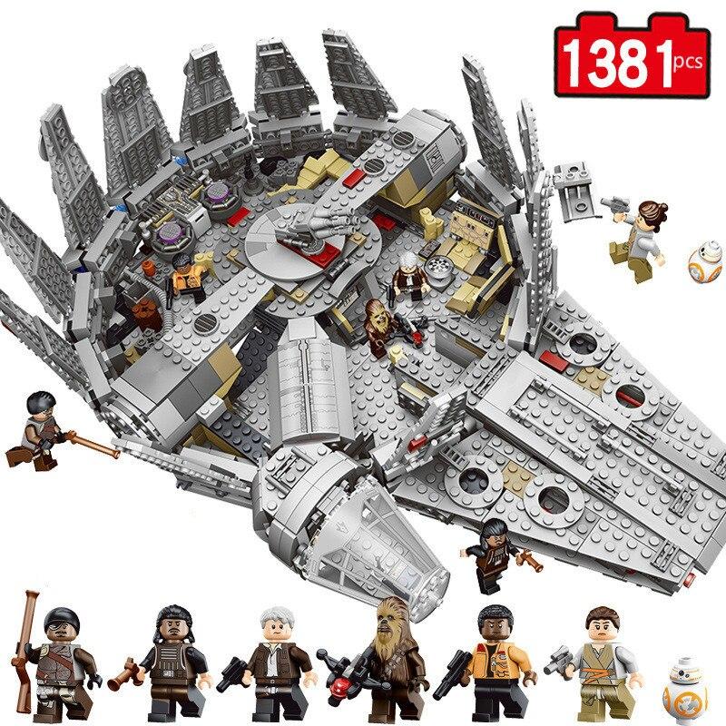Star millénium Falcon chiffres Wars modèle blocs de construction briques inoffensives éclairer Compatible Starwars jouet