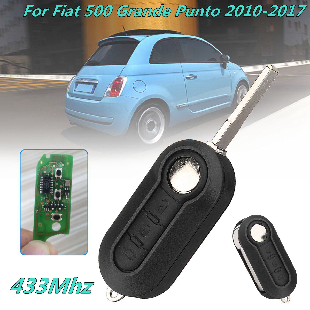 3Button Flip Folding Remote Key Case Shell Cover For Fiat