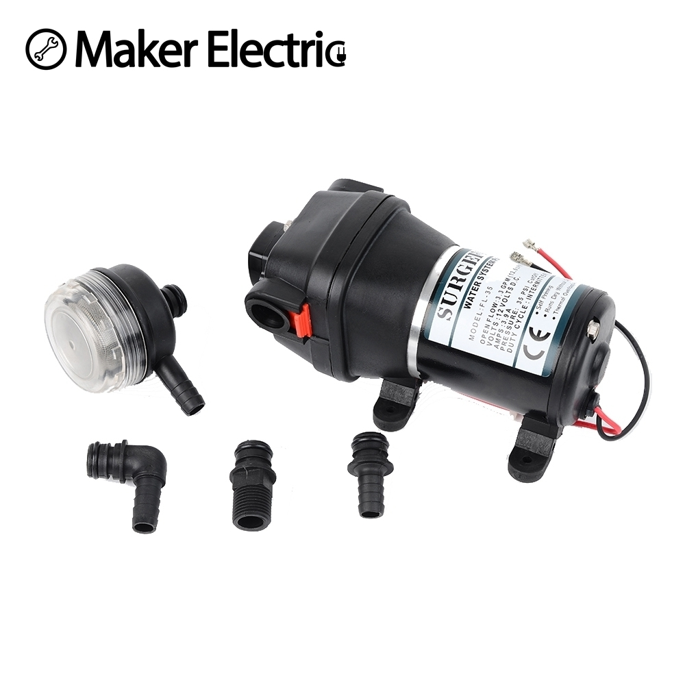 12V 24V 120W 35PSI DC Micro Diaphragm Pump Irrigation Motorhome RV Car Water Supply Booster Water