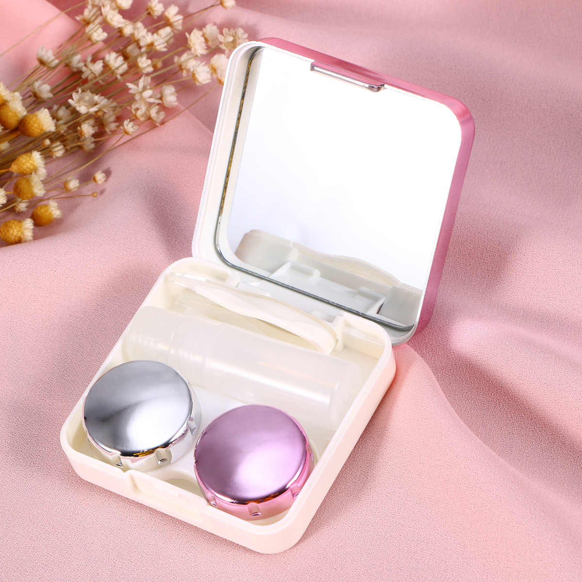 Mini Travel Simple Contact Lens Case Box Container Holder (Rose Red)