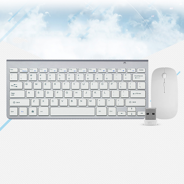 Smooth Body 2.4GHz Wireless Keyboard and Mouse Combo 102 Keys Low-noise Wireless Keyboard Mouse for Mac Pc WindowsXP/7/10 Tv B mouse