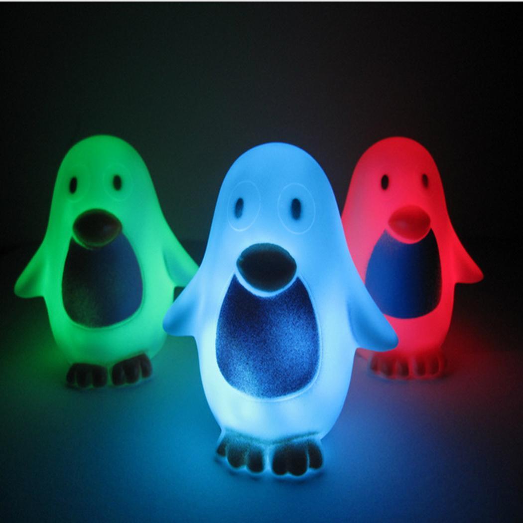 Colorful Cute LED Night Lamp Penguin Shaped Cartoon Cartoon Night Light Kids Casual Random Bedroom Decor
