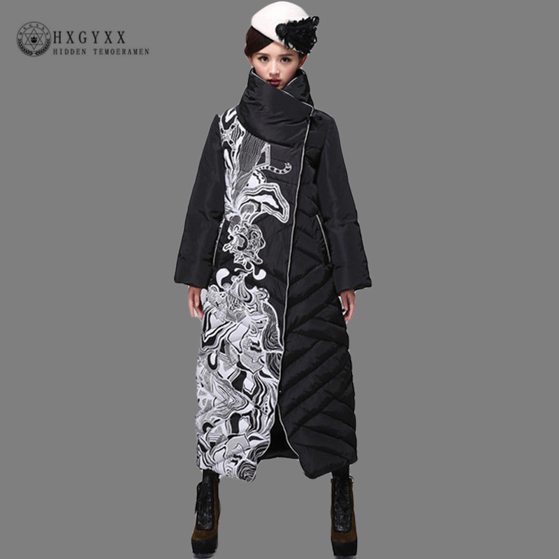 Warm White Duck Feather Coat Sim Turtleneck Long Winter Jacket Women Down Parka 2019 Goose Feather Plus Size Outerwear SS939