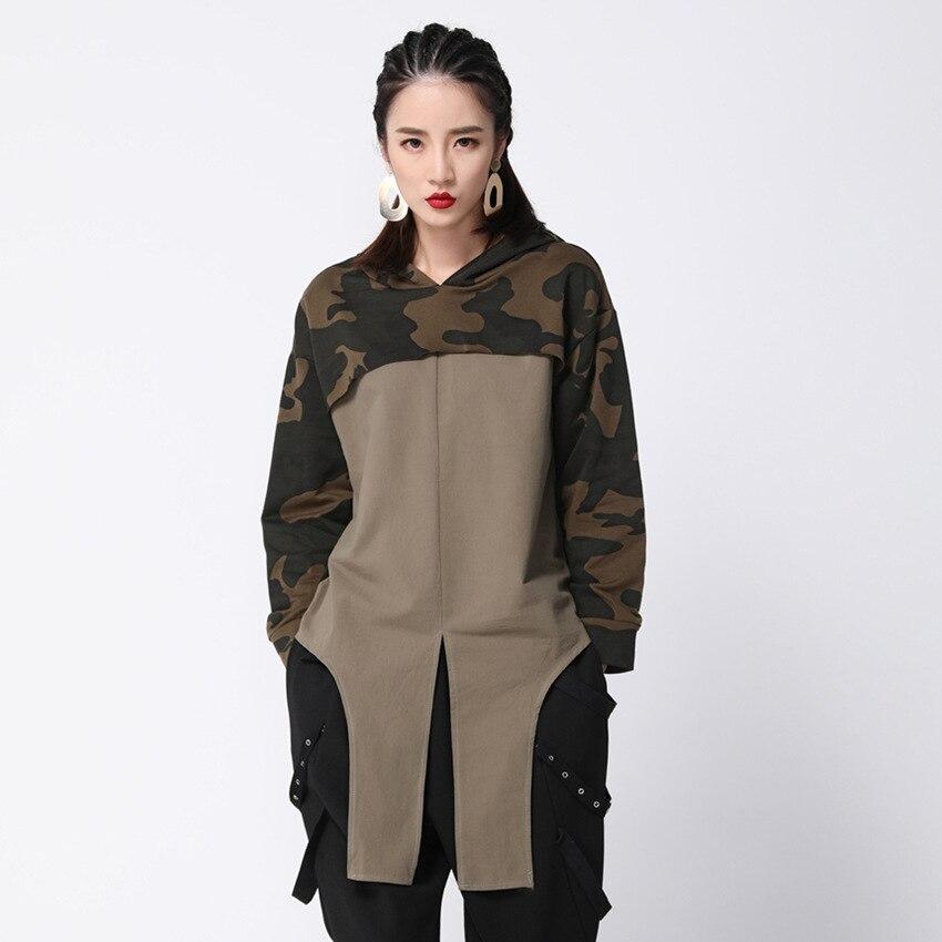 #1441 Spring 2019 Hooded T Shirt For Women Camouflage High Street Long Sleeve T Shirt Women Loose Oversize Irregular T Shirt