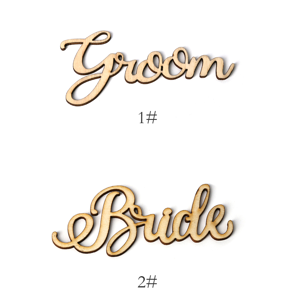 Wooden Birde Groom Ornament DIY Crafts Letters Wedding Party Decor