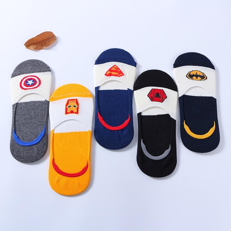 Men Harajuku Cotton Socks Hip Hop Batman Superman SpiderMan Captain America Avengers Short Funky Cotton Invisible Happy Socks